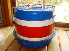 Vintage Peoria Cake Carrier Red White Blue