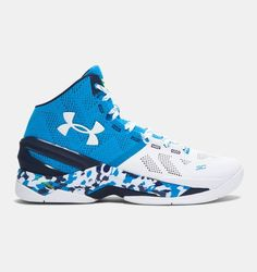 Stephen Curry's signature basketball shoes from Under Armour now available in Electric Blue.
