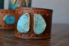 LUX Recycled Leather 24K Gold Turquoise Gemstone Stacking Cuff