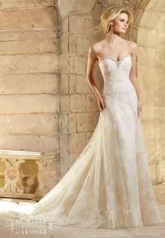 Wedding Dresses 2774 Crystal Beading Trims the Net Gown Decorated with…