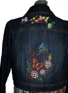 Items similar to Girl's Jean Jacket (Lg), Butterfly and Flowers - from our CARAUT-ALTERED collection of upcycled denim clothing on Etsy - Jean Jacket For Girls, Blue Jean Jacket, Embroidered Clothes, Embroidered Jacket, Jeans Denim, Blue Jeans, Jean Jacket Design, Denim Noir, Painted Clothes