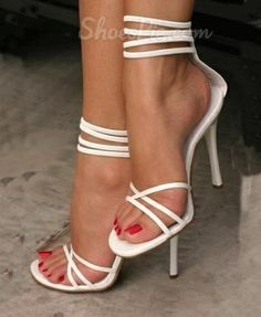 White Coppy Leather Cut Out High Heel Sandals