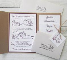 Rustic Kraft Wedding Invitation - Pocket