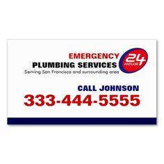 24 Hour Local Emergency Plumbing Services Business Card Templates. This is a fully customizable business card and available on several paper types for your needs. You can upload your own image or use the image as is. Just click this template to get started!