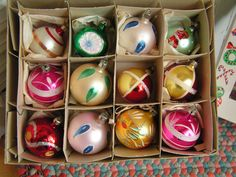 Vintage Box of 12 Hand Painted Mica Christmas Ornaments Made in Poland by TheVintageMoment on Etsy https://www.etsy.com/listing/223521534/vintage-box-of-12-hand-painted-mica
