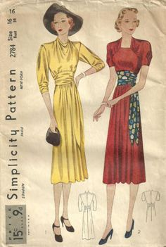 Simplicity 2784 designed by Valentina | ca. 1938 Misses' Dress