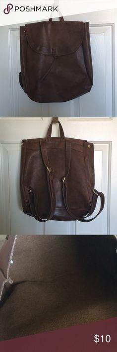 Brown faux leather backpack Brown faux leather backpack from Merona  Adjustable straps  Great condition Merona Bags Backpacks
