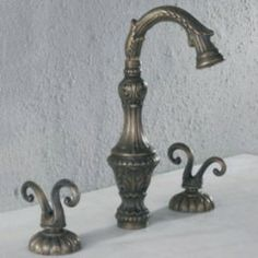 Luxury Widespread Bathroom Sink Faucet Antique Br Finish T0473