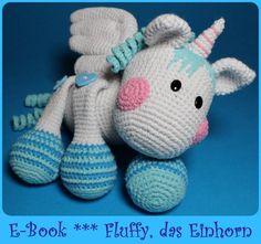 Häkelanleitung Fluffy, das Einhorn * Pegasus*  PDF von Kiezmasche auf DaWanda.com