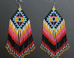 Set of two pairs native american beaded by HelenDmitrenkoShop