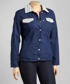 Look what I found on #zulily! Dark Indigo Lace Accent Denim Jacket - Plus by Live A Little #zulilyfinds