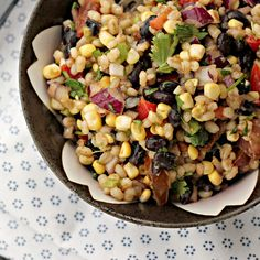 Corn-Avocado Salad with Black Beans and Barley from @Joanne Bruno - Eats Well With Others