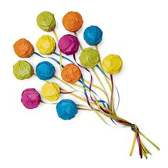 Whether you're planning a circus party or a neighborhood penny carnival, this bunch of colorful balloons makes a festive ending. Be sure to make a balloon for every child at the party. Tip: Cover your cake cardboard with sky blue wrapping paper and arrange the balloons on top so they look like they are flying up in the air.