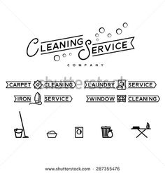 Cleaning service badges and icons set. Vector black labels, isolated on white background - stock vector