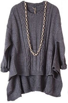 Grey Long Sleeve Asymmetrical Loose Pullovers Sweater pictures