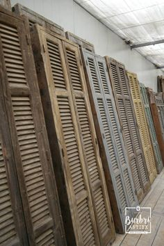 Burbri, Window frames with shutters Brocante style in Grenen, France Egypt. Building A New Home, Cozy House, Hall Interior, Attic Inspiration, Hall Interior Design, House Interior, Vintage Shutters, Wood Shutters, Louvre Doors