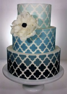 The Bridal Dish is in love with this Blue Ombre Wedding Cake!  Find fabulous cake, cookies, cupcakes for your wedding: http://www.thebridaldish.com/vendors/listings/C2
