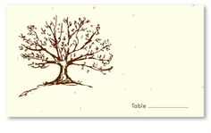 Plantable Wedding Place Cards ~ Roots of Love Tree (seeded paper)