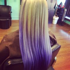Blonde hair with Pravana pastels and vivids in lavender and violet. Ombré through the length. Color and cut by Janet Moffatt