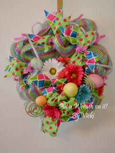 Spring Easter Egg and Flower Wreath by PutaWreathonitVicki on Etsy