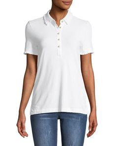928977e5456 Lacey Pique Polo with Logo Buttons Tory Burch