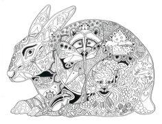Rabbit Raccoon Duck Tiger Chipmonk Abstract Doodle Zentangle Coloring pages colouring adult detailed advanced printable Kleuren voor volwassenen coloriage pour adulte anti-stress