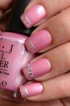 Love these pink nails with the delicate glitter and diamante detail. Wish all my nails would stay long to do all these fancy nail arts on. But then I reckon you could do this on short nails too. Fancy Nails, Love Nails, Pink Nails, How To Do Nails, Pretty Nails, My Nails, Dream Nails, Essie, French Tip Nail Art