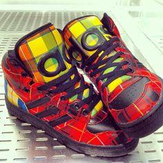 new product bf02c f96c2 Adidas X Jeremy Scott Jeremy Scott, Adidas Shoes, Tartan, Swag, New Adidas