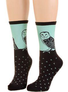 I Think Owl Go For A Walk Socks by SockSmith, Socks, Black,Blue