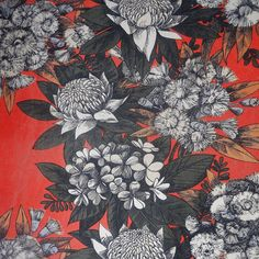 AMAZING LARGE Vintage Fabric Retro 60s 70s Funky Floral fabric 160cm by 120cm