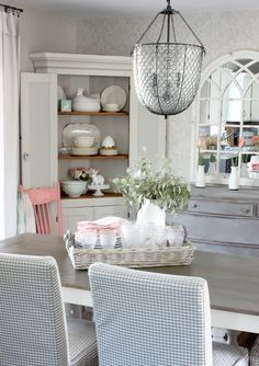 2017 Cottage Style Spring Home Tour - Hymns and Verses Antique Corner Cabinet, Corner Hutch, Dining Cabinet, Corner Cabinets, Cabinet Decor, Dining Room Corner, Dining Rooms, Dining Table, Vintage High Chairs