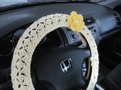 Crochet Steering Wheel Cover Wheel Cozy with a Flower - yellow/bright yellow