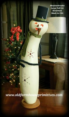 Meadowbrooke Gourds Large Tall Lit Snowman (Made In USA)