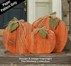 Pallet Wood Pumpkins Pattern from the Winfield Collection. Pallet Crafts, Wooden Crafts, Wooden Diy, Wooden Pumpkin Crafts, Wooden Garden, Fall Projects, Wood Projects, Wood Pallets, Pallet Wood
