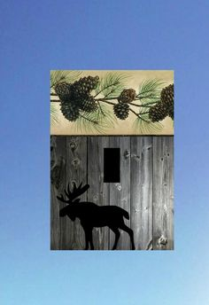 moose reclaimed wood image pinecone Light Switch by ElsaBellART