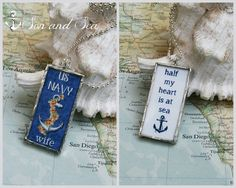 reversible US Navy wife anchor and roses deployment soldered glass pendant necklace by Son and Sea FREE US shipping