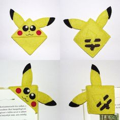 Handmade felt Pikachu corner bookmark. It help you keep track of where you stop reading. Its a perfect gift for bookworms, children, students and teachers. Completely hand sewn. It made from wool felts and is sewn together with matching embroidery thread. Hand embroidery. No glue was