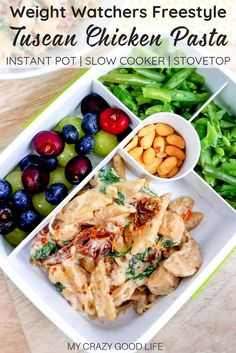 creamy and healthy Tuscan Chicken Pasta will satisfy your craving without the calories! It's an easy healthy chicken recipe that your family will love, and you can cook it in your Instant Pot, slow cooker, or on the stove. 21 Day Fix Tuscan Chicken Pasta Instant Pot Dinner Recipes, Easy Dinner Recipes, Easy Dinners, 21 Day Fix, Tuscan Chicken Pasta, Clean Eating, Sin Gluten, Gluten Free, Weight Watcher Dinners