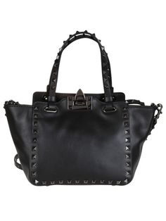 "VALENTINO Small ""Rockstud"" Trapeze Leather Tote Valentino, Black With Two Top Handles, Strap, Flip-Lock Closur. #valentino #bags #shoulder bags #hand bags #leather #tote"