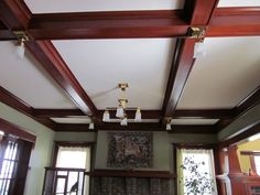 Boxbeam Ceiling in living room with cross lights and central light (Laurelhurst Craftsman Restoration) Living Room Photos Craftsman Porch, Craftsman Remodel, Craftsman Style Homes, Craftsman Bungalows, Painted Ceiling Beams, Front Room Decor, Old Home Remodel, Living Room Photos, Home Ceiling