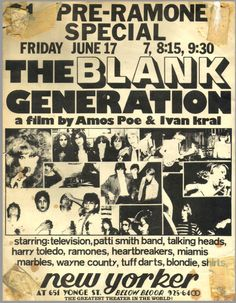 Ad for documentary film The Blank Generation (1976)