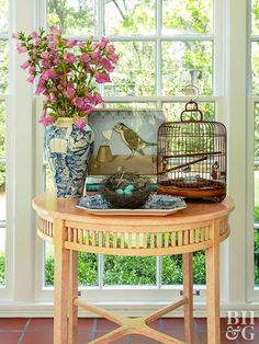 Welcome spring with a trio of bird accessories on an end table or bookshelf. Look for little accents—like nests, eggs, birdcages, and flowers—then arrange together for a seasonal look.