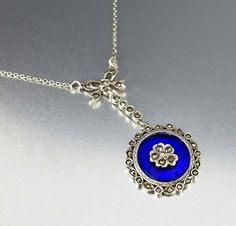 Silver Pansy Marcasite Blue Glass Edwardian Necklace  #Glass #Blue #Marcasite #Sterling #Necklace #Silver #Edwardian #Bullseye #Germany #Seal