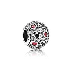 A sparkling field of stones, embellished with vivid hearts and Mickey symbols, wonderfully embodies the love that Mickey represents. #PANDORAlovesDisney
