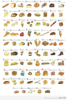 to self An illustrated alphabet would be a good project for break! acrossthe-night: Food illustration sourceNote to self An illustrated alphabet would be a good project for break! Vino Y Chocolate, Food Sketch, Holiday Icon, Types Of Bread, Food Painting, Guacamole Recipe, Food Drawing, Kitchen Art, Food Illustrations