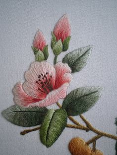 Wonderful Ribbon Embroidery Flowers by Hand Ideas. Enchanting Ribbon Embroidery Flowers by Hand Ideas. Chinese Embroidery, Silk Ribbon Embroidery, Crewel Embroidery, Embroidery Patterns, Machine Embroidery, Flower Embroidery, Embroidery Supplies, Art Patterns, Embroidery Thread