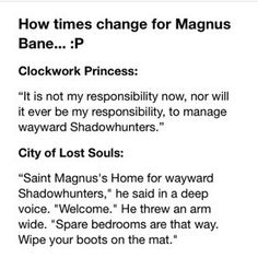 How times change for Magnus Bane...love him just the way he is which is glittery perfect  (Wayward)