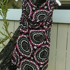 RESERVED lkeller67 INC SCOOP NECK SHELL Pink, grey, black and white patterned shell with sparkle.  Scooped neck, sleeveless with twist detail at shoulders and fitted waist. Plenty of give.  Rayon.  Size XL INC International Concepts Tops Blouses