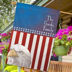 """Personalized American Eagle House Flags. Display your family's American pride year round with a Personalized American Eagle House Flags. This unique House Flag is sure to look splendid in the front entrance of your home. Your Patriotic House Flag is the perfect accessory for the 4th of July holiday. Your Personalized Patriotic House Flag is printed on one side and measures 29""""W x 43""""H. Includes FREE Personalization. Personalized with any three line custom message."""