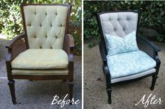 How to Reupholster An Occasional Chair With Tufted Back - There is a certain chair in my living room that really needs help.